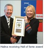 Halina receiving Hall of Fame award