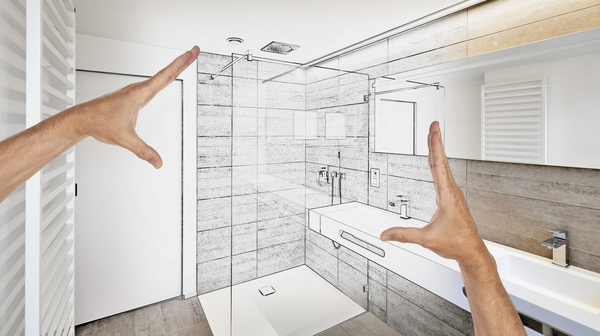 Planned renovation of a luxury bathroom
